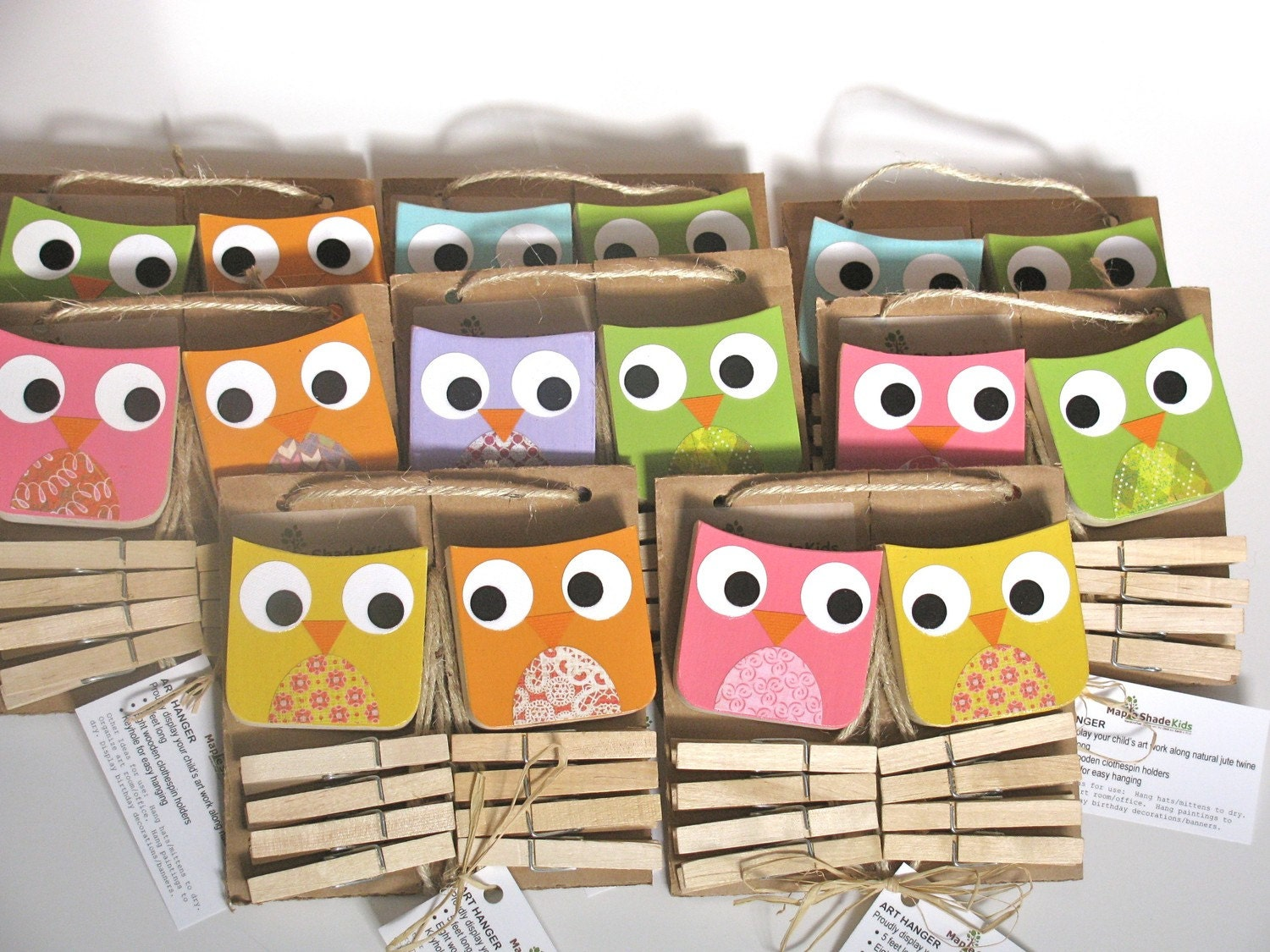 Owl Art Clips - Your Color Choice - eco-friendly by Maple Shade Kids
