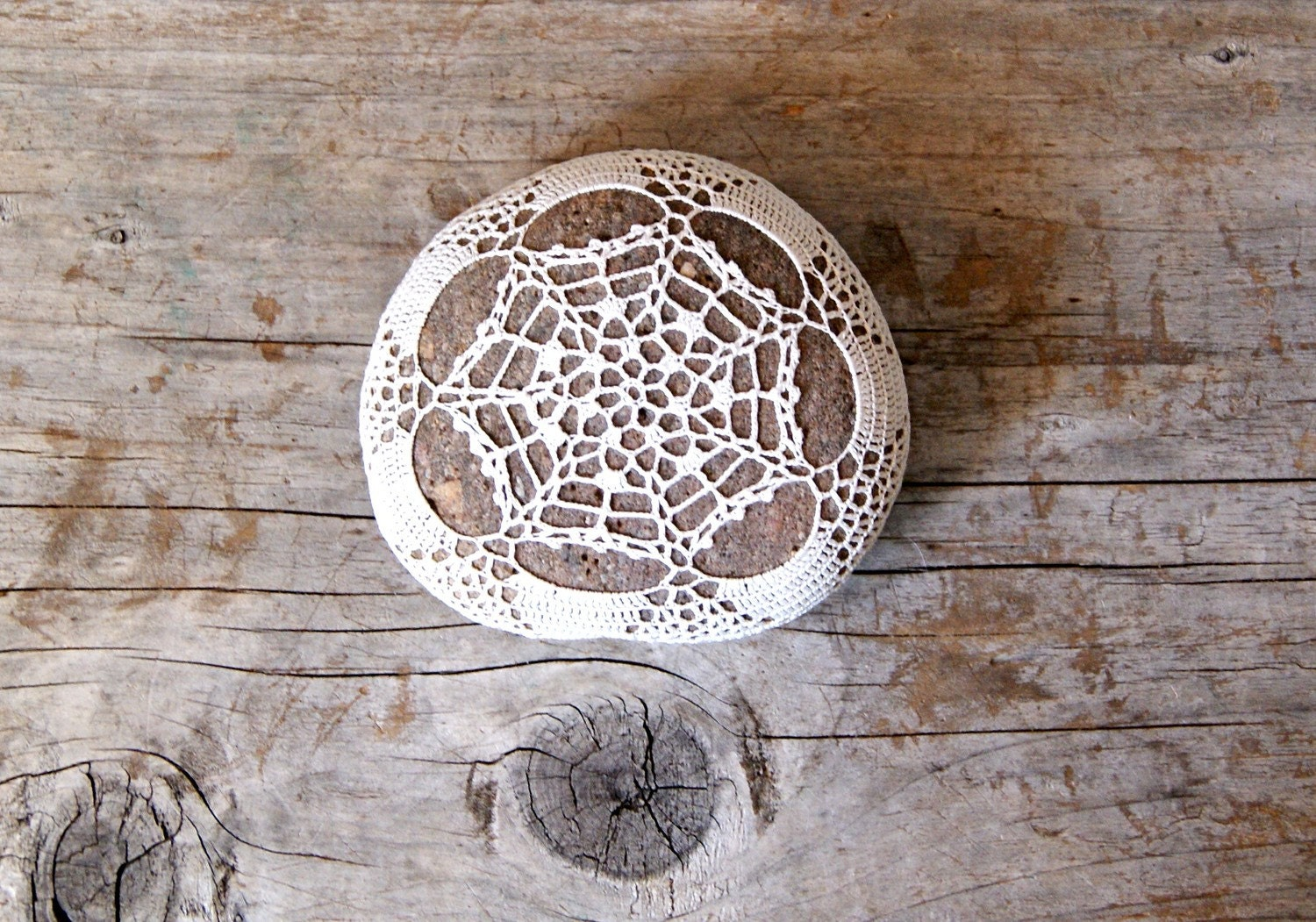 Bronwyn's Crochet Covered River Rock / Beach Stone The Vintage Collection No. 022 Limit Edition / Ready to Ship