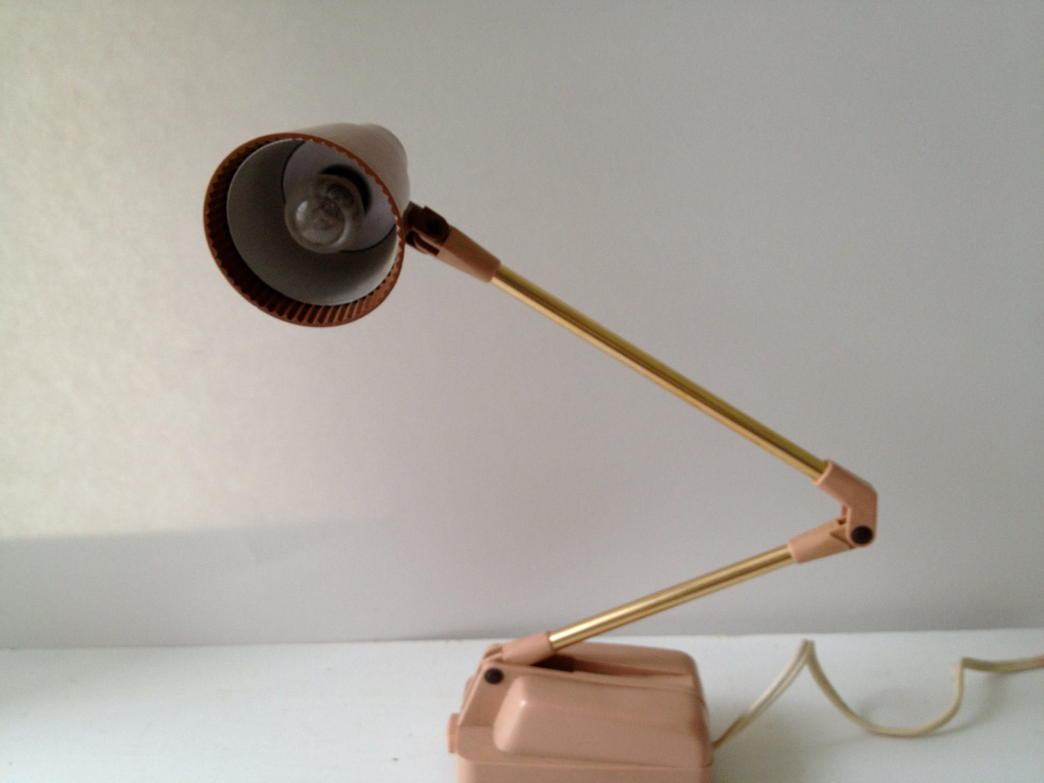 Vintage Gooseneck Desk Lamp - Rose Pink/Gold/Brown