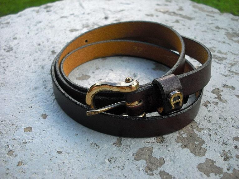 Vintage Leather Etienne Aigner Skinny Belt