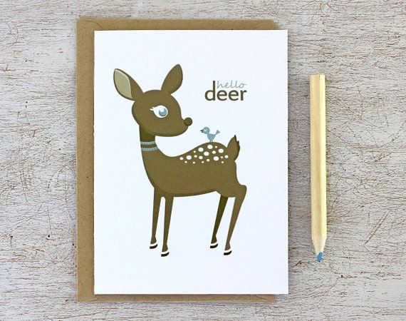 Hello Deer Notecard Set: Deer Note Cards - Brown Fawn, Deer Print, Baby Bird, Light Blue, Brown, Woodland Animal, Autumn - 4Bar (Set of 3) - sweetharvey