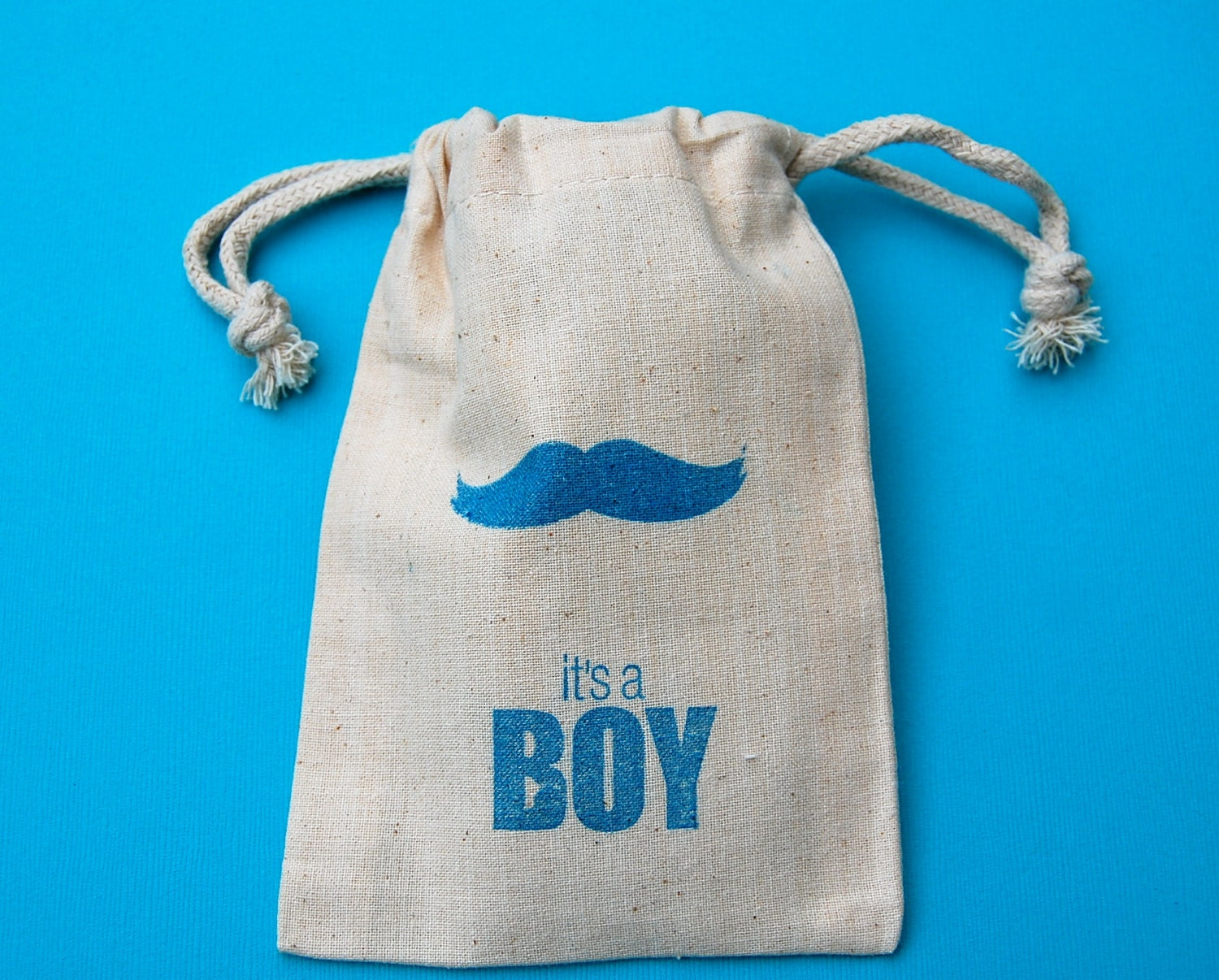 Mustache Muslin Bags /  It's a Boy / Set of 10