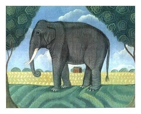 BIG ELEPHANT Signed Folk Art Print NAIVE JUNGLE Wall Art