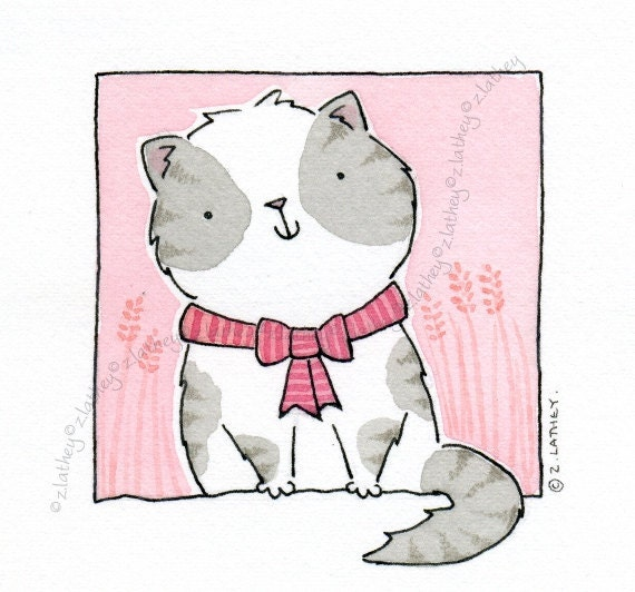 Gray and White Kitty Cat with Stripey Bow - Original Watercolour