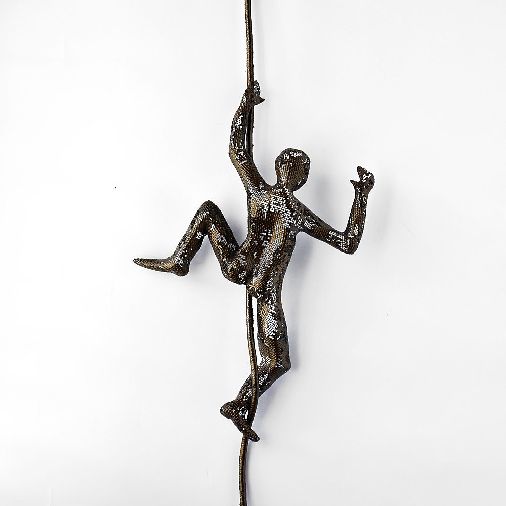 Wall Decor With Rope : Metal wall art climbing man on rope home decor by