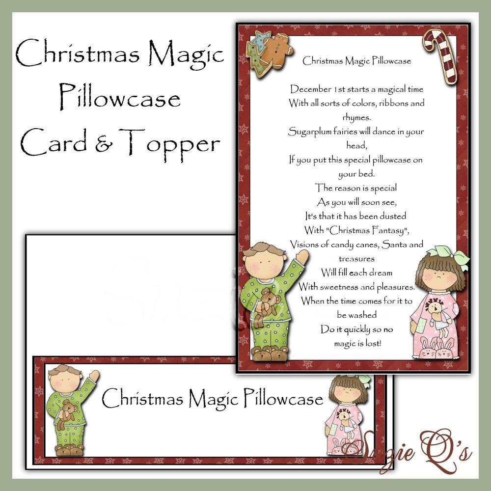 Items similar to Magic Christmas Pillowcase Card and Topper - Digital ...