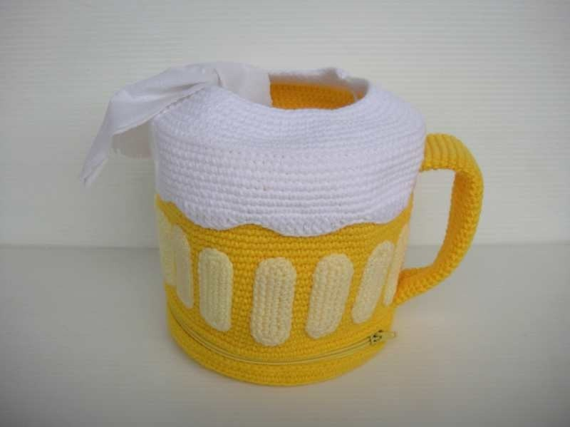 Crochet Pattern - BEER MUG - Tissue Roll Holder - PDF
