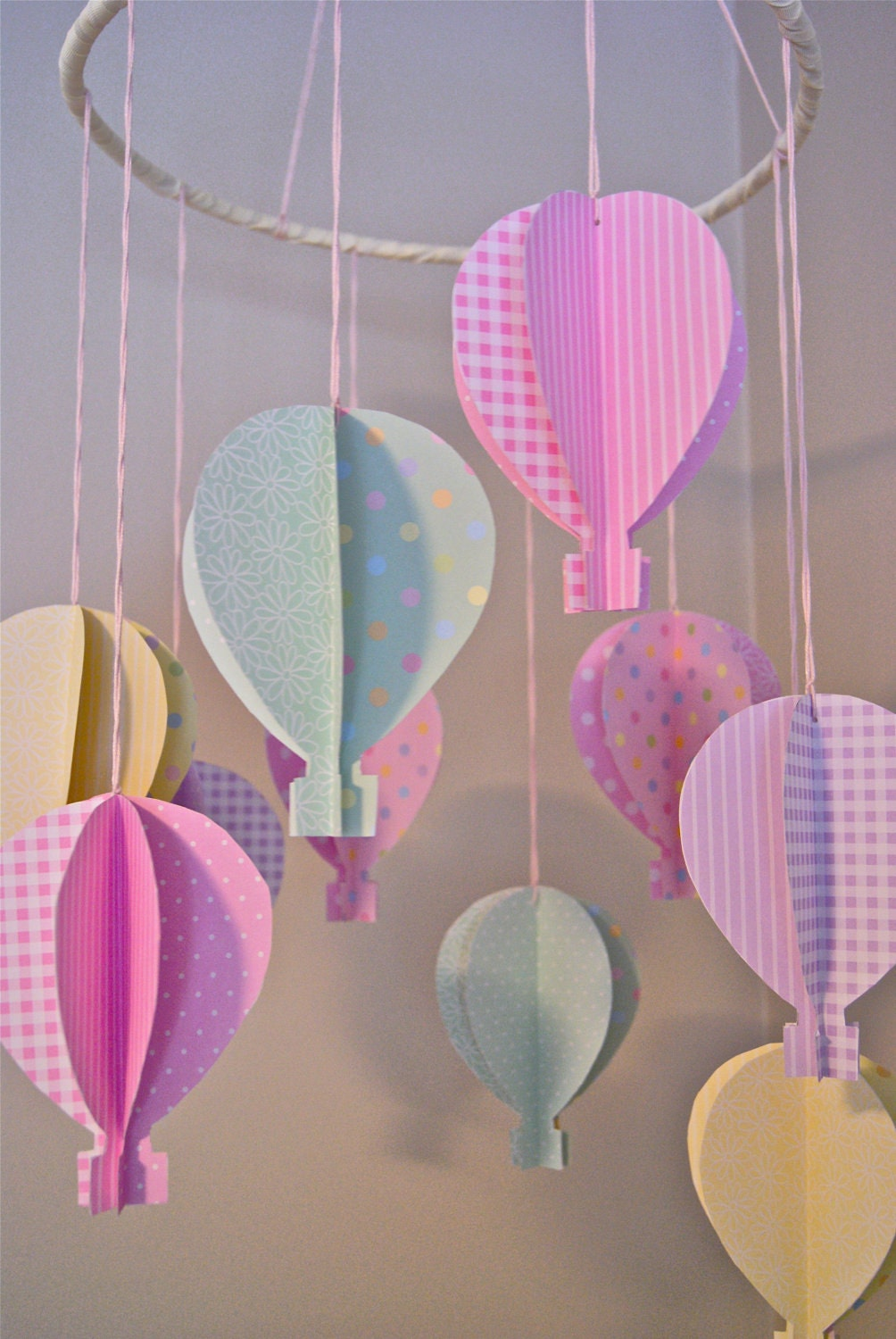 Boys Girls Pastel 3d Paper Hot Air Balloon Mobile By