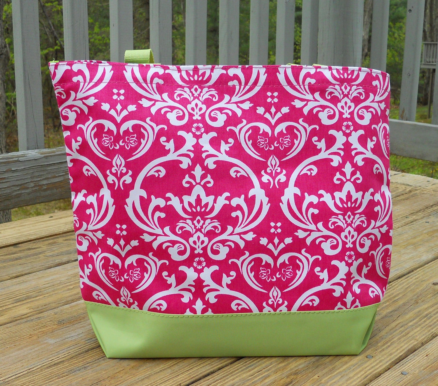 Personalized Monogrammed Pink Damask Beach or Tote Bag