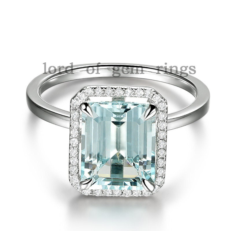 14k white gold 8x10mm emerald cut aquamarine engagement by