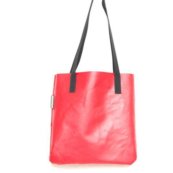 Handmade in UK Red Recycled Bouncy Castle Vinyl PVC Tote Shopper  Eco Friendly Bag
