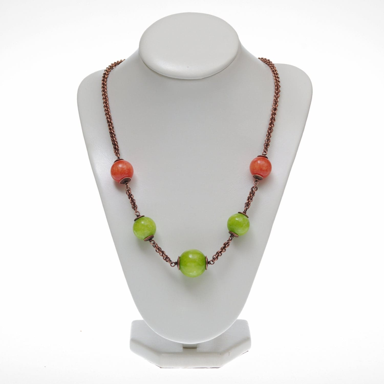 jade necklace, spring green, lime, orange jade, chainmaille copper necklace, oxidized copper, women jewelry, long, big beads - Verha