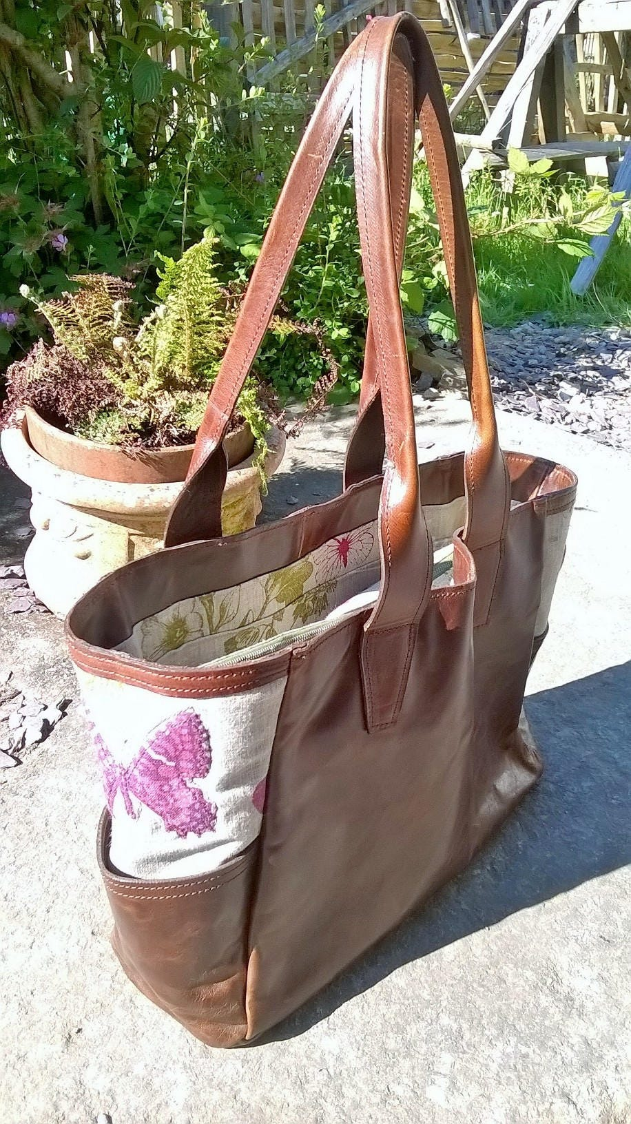 Large Leather Tote. Butterfly Pattern Linen. The Rachel.