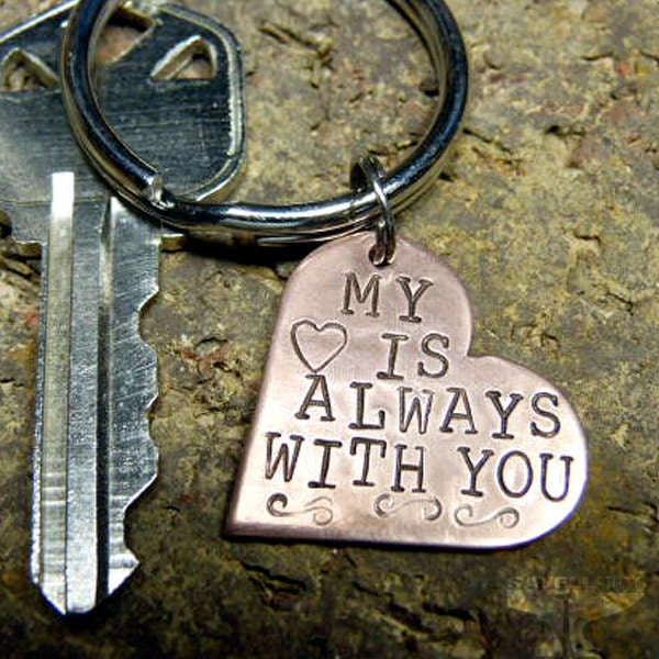 Keychain Personalized - Key Ring - Hand Stamped - Copper Heart - Anniversary - Unisex - Valentine's Day - 2 Sided Personalized