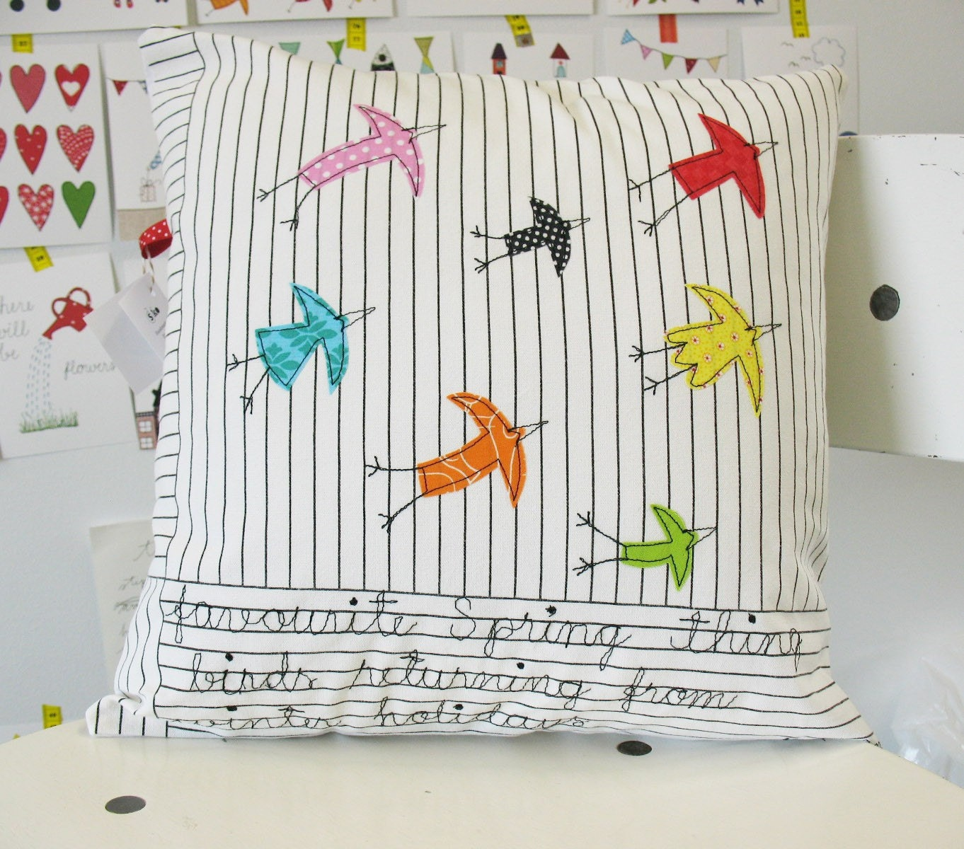 Favourite Spring thing - birds - appliquéd cushion cover