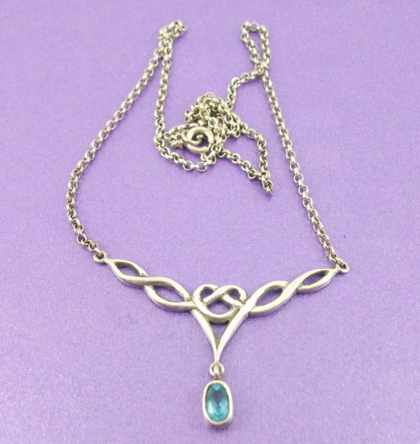 Vintage Art Nouveau Revival Necklace Silver Necklace Aquamarine Necklace Lovers Knot Pendant Vintage Gift