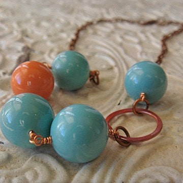 Turquoise and Coral Oyster Shell Beads with Rose Copper Ring on Copper Chain Necklace