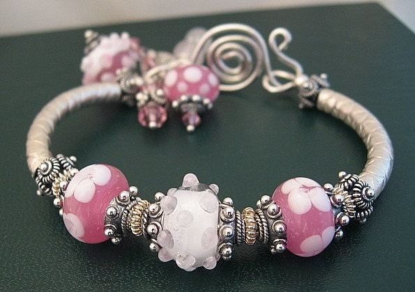 MY SWEET EMMA . . . sterling silver bangle bracelet w/handmade lampwork beads .... just reduced to 69.00