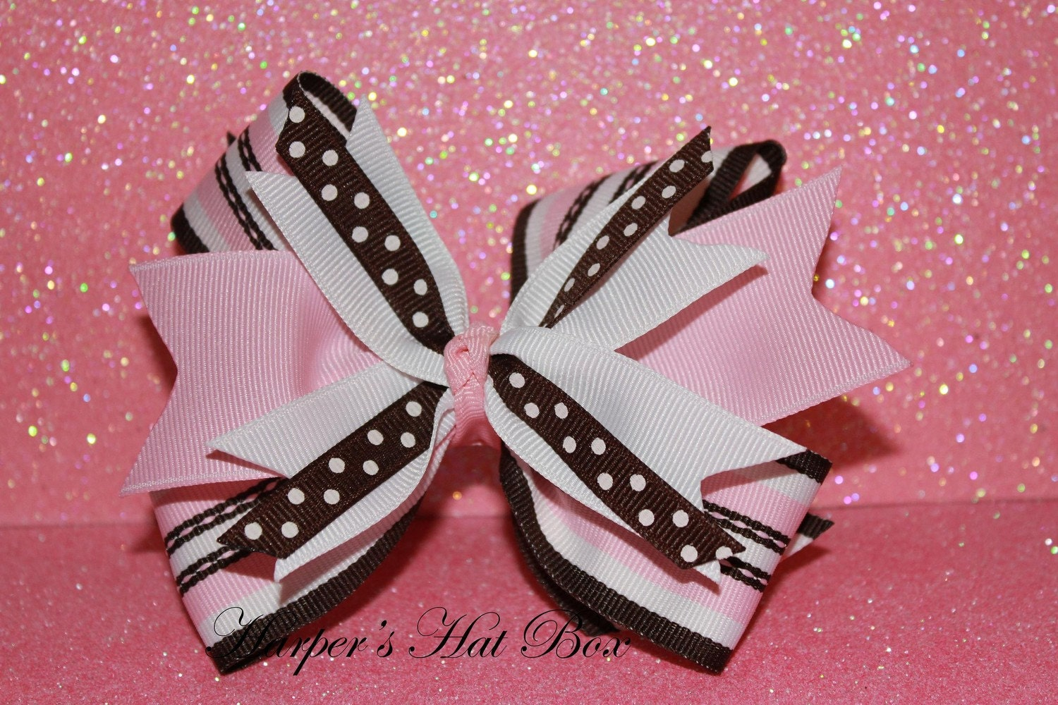 Pink and Brown Spikey Bow
