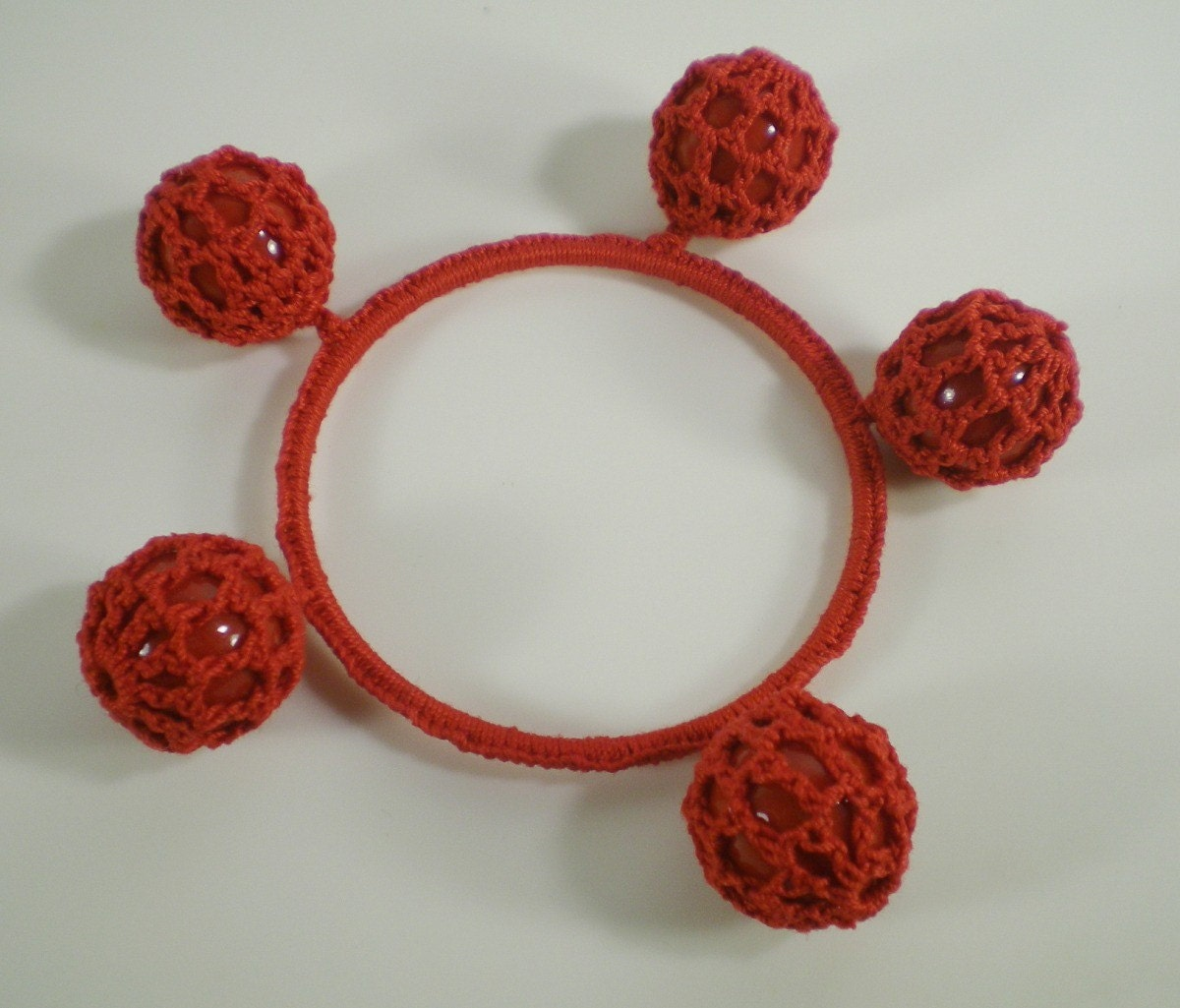 Red Crochet Bubble Cotton Bangle Bracelet by paleodeux on Etsy from etsy.com
