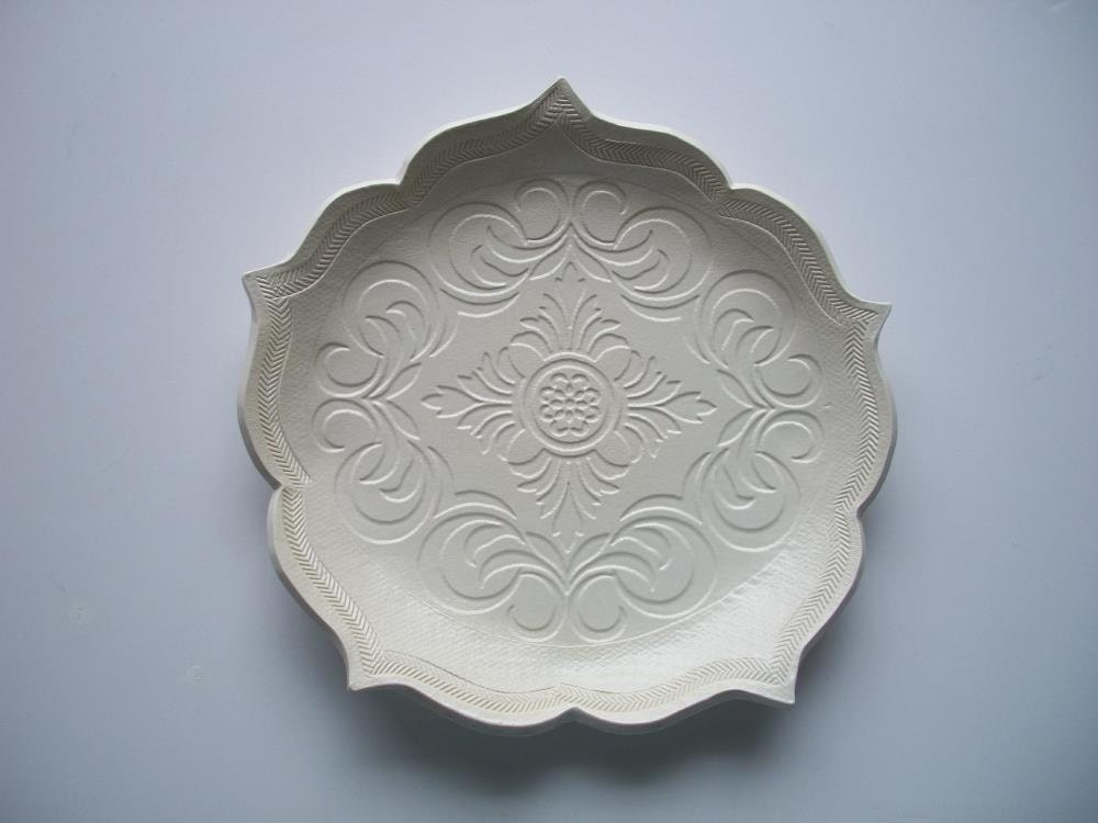 White Scroll Lotus Plate - CatsPawPottery