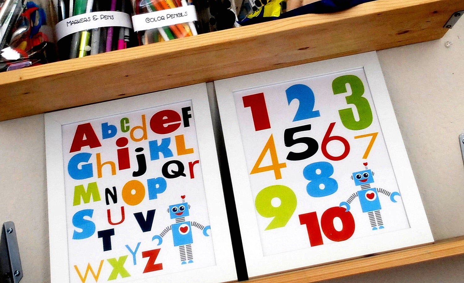 ON SALE 2 Robot Wall Print, Alphabet and Numbers Typography Kids poster Boy Room A190