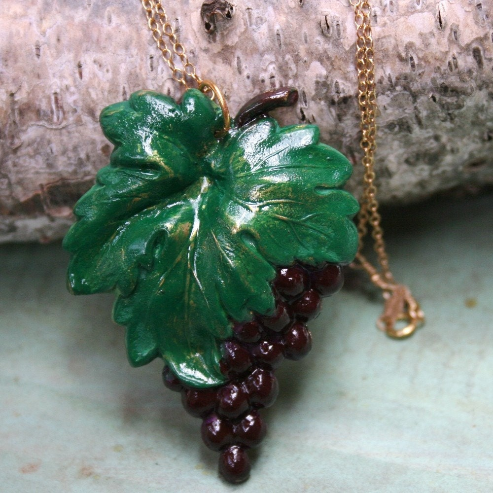Bunch  of Grapes Necklace-Hand painted vintage brass by Madre de Olivia