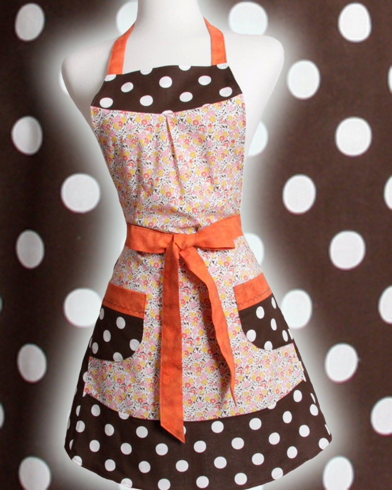 Vintage inspired Apron retro 1930 flour sack print Orange Pink Yellow Brown and big White polka dots