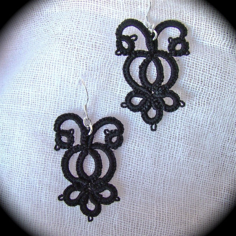 The Night Garden - Tatted Lace Earrings