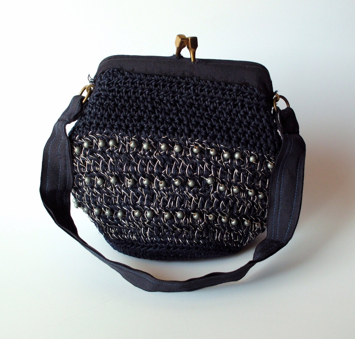 Navy Blue Beaded Garay Handbag