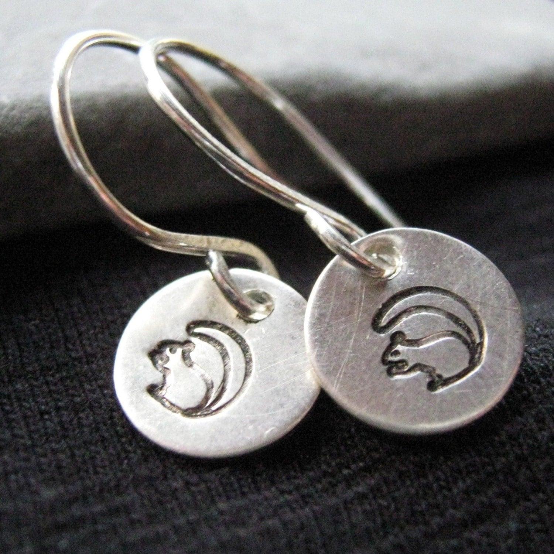 Black Squirrel sterling silver earrings
