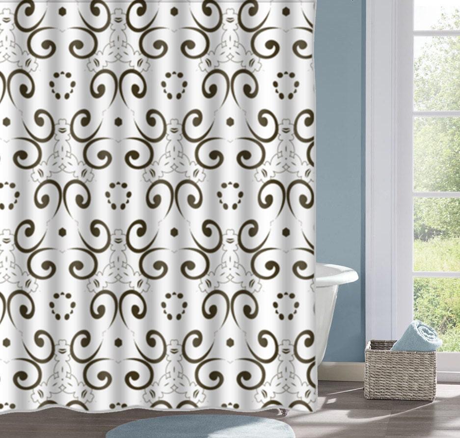 Black damask shower curtain 2