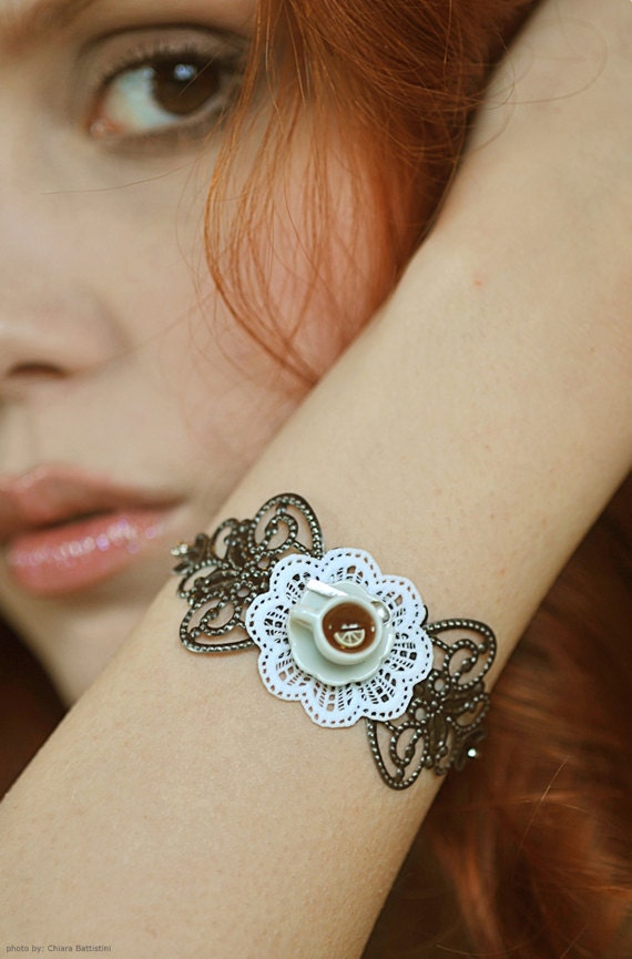 "Filigree Bracelet, Tea Cup and Shabby Lace Doily ""La Petite"", Miniature Food Jewelry"