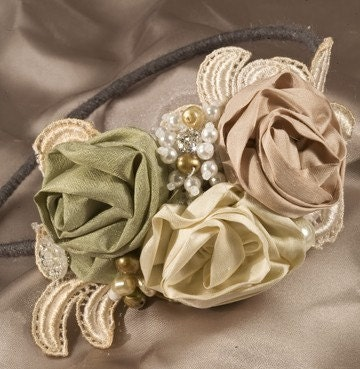 Rolled Rose and Vintage Lace Fantasy Headband by BeSomethingNew from etsy.com