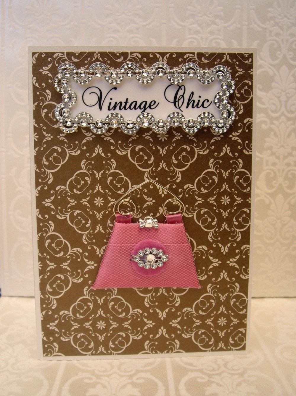 15% SALE Vintage Chic Personalised Card / Pink Clutch Bag / Handmade Greeting Card