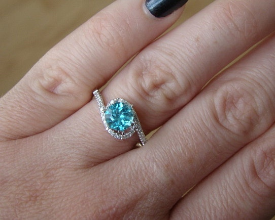Items similar to Halo Teal Apatite Diamond Ring Gemstone Engagement Ring Cust