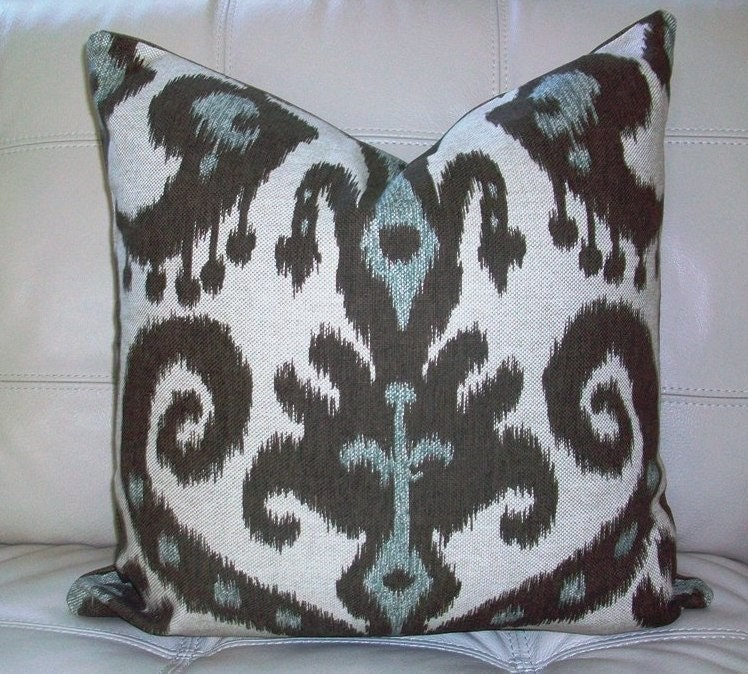 Decorative Designer Pillow Cover 18X18 - IKAT Print in Chocolate Brown, Aqua Blue on Natural Background