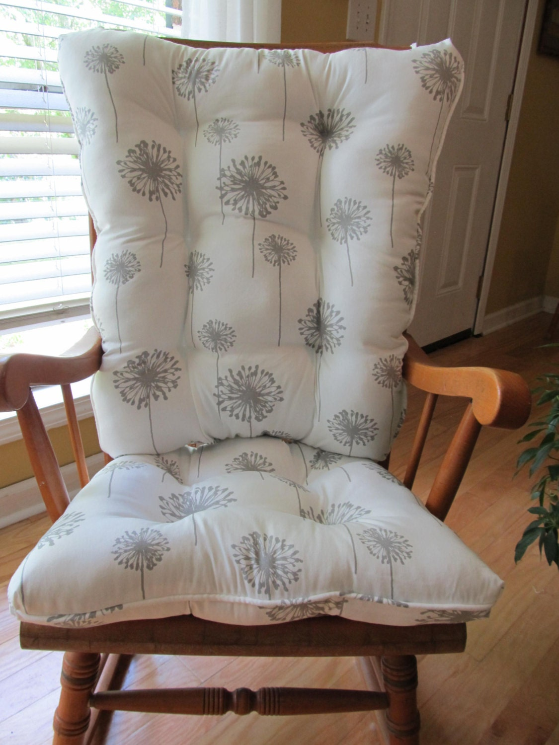 rocker or rocking chair cushion set in gray white dandelion nursery