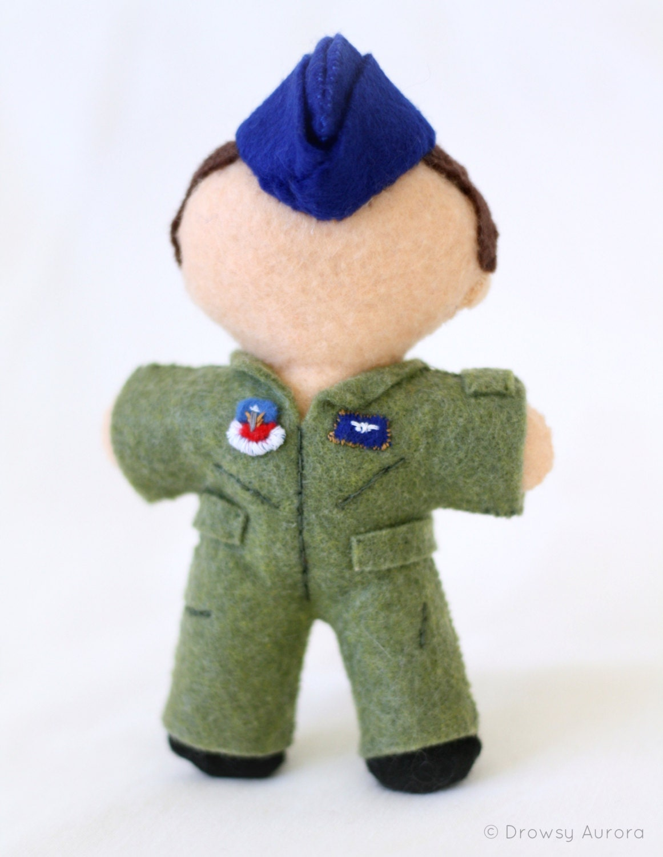 Custom Air Force Plush Doll - Military Flight Suit, Uniform, Stuffed Plush Toy, Plushie, Personalized, Felt Doll - DrowsyAurora