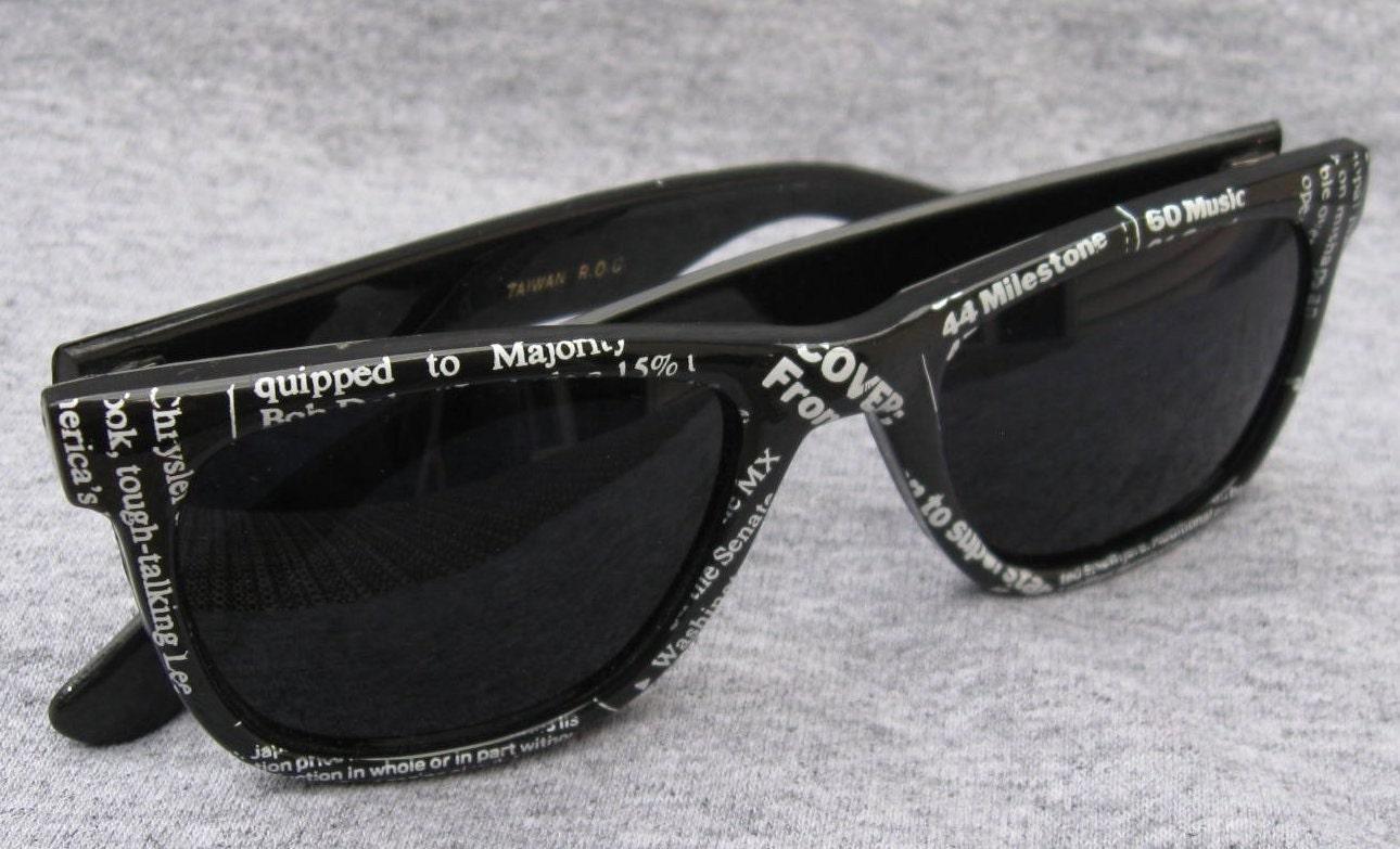 80's Vintage Black Rimmed Newsprint Sunglasses