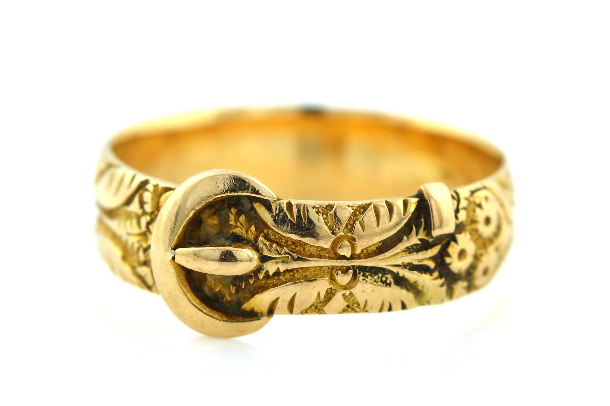 18ct Yellow Gold Victorian Buckle Ring Antique 18ct Gold Buckle Ring hallmarked  c.1886