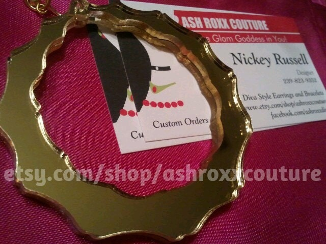 Basketball Wives Poparazzi Inspired Bamboo Mirror 4 inch hoops like PICTURE