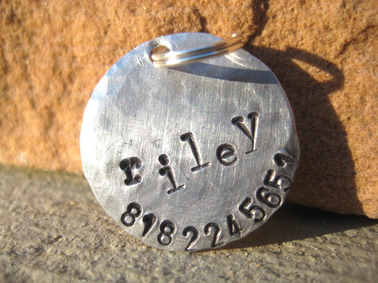 The Riley - Distressed Handstamped Pet ID Tag Aluminum Small Dog Cat