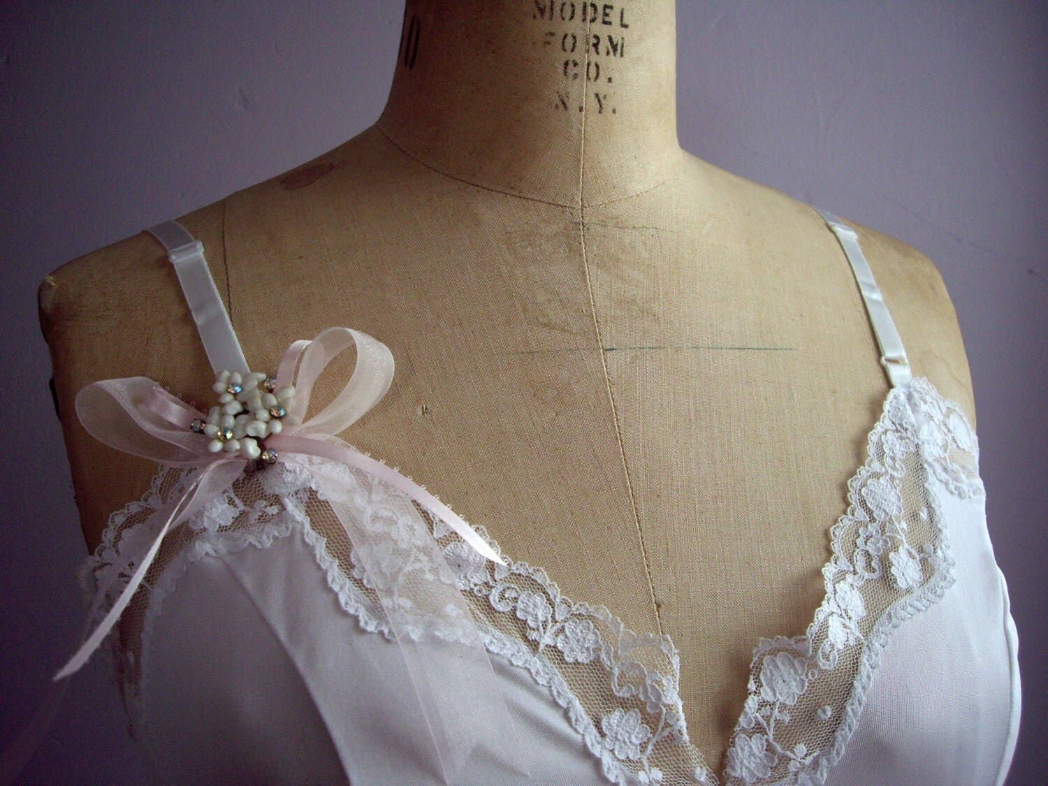 No. 2 Vintage White Camisole. Pink Ribbon. Lingerie. S