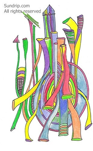 Cooperation Original Abstract Line Drawing in Color