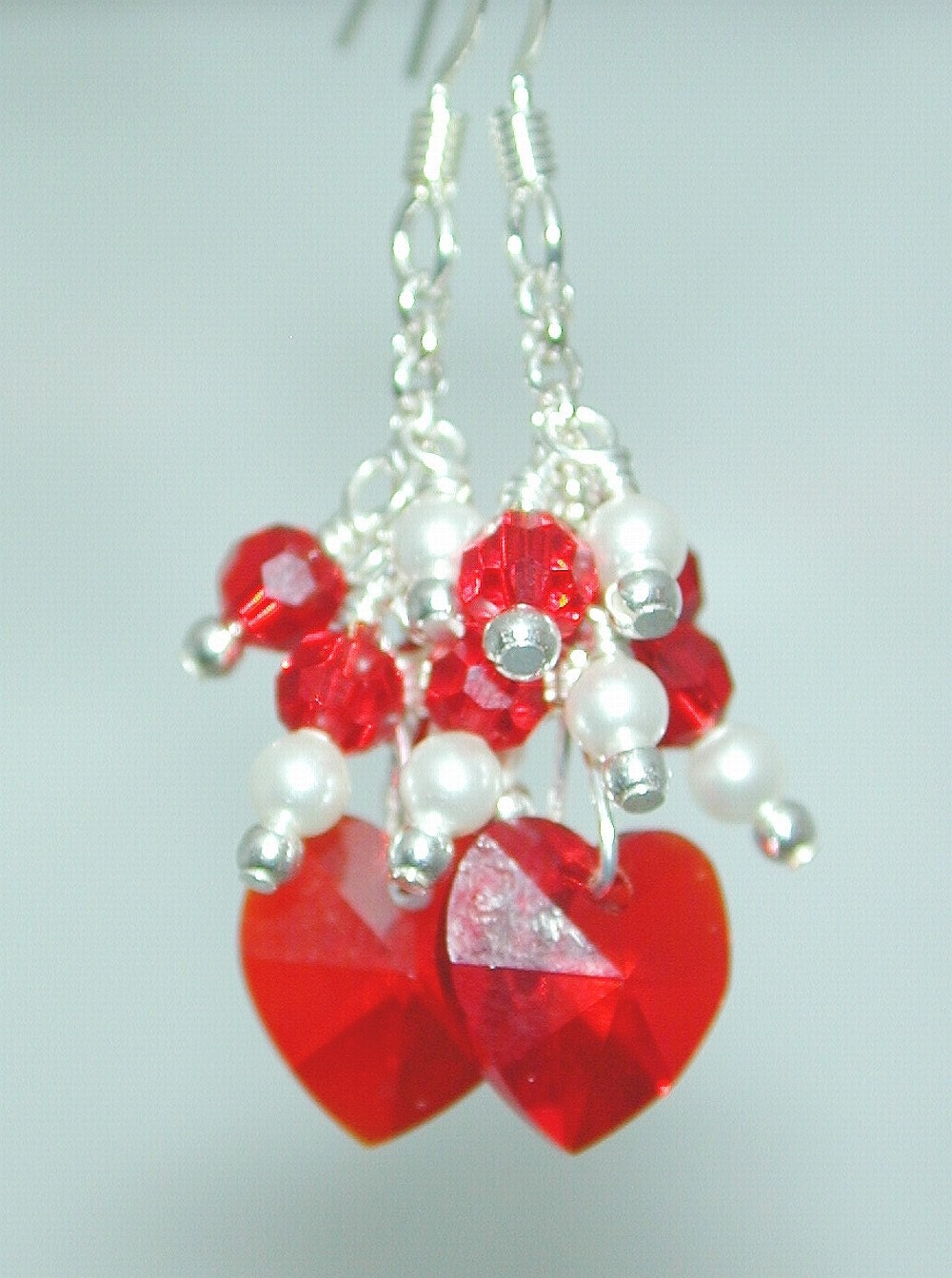 JBB Flowergirl SWAROVSKI Handmade CUSTOM Original EARRINGS Red HEARTS
