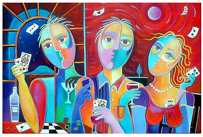 Original Cubist Contemporary Painting Poker Game BIG 36x24  Modern POP ART  Exhibited Marlina Vera