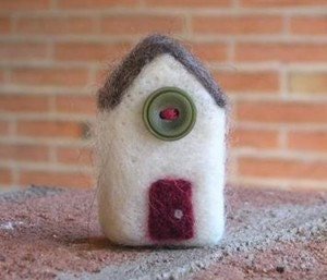 Carnation Road MINI - needle felted wool house