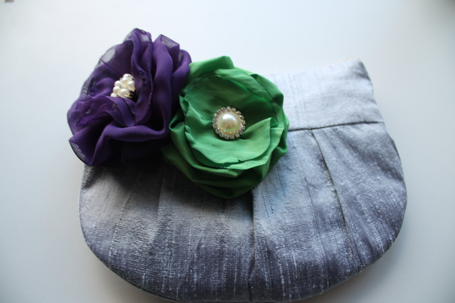 Bridesmaid Clutch  Wristlet Clutch  Perfect Bridesmaid Gift  Grey Clutch with Purple  Green Stardust Flower Brooch (choose your colours)