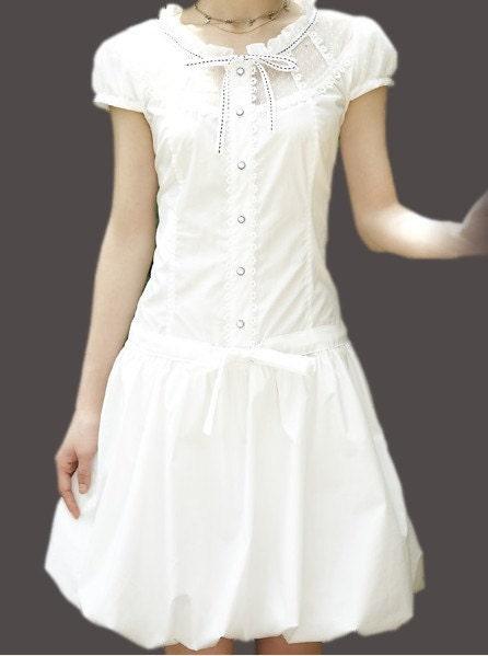 خالص پنبه لباس سفید آستین کوتاه